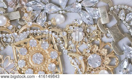 Jewel Set. Beautiful Fashion And Vintage Jewelry With Precious Shiny Stones, Pearls And Diamonds For