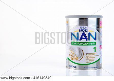 Moscow, Russia - February 15, 2021: Nestle Nan Optipro 1 Isolated On White Background. Nan Optipro 1