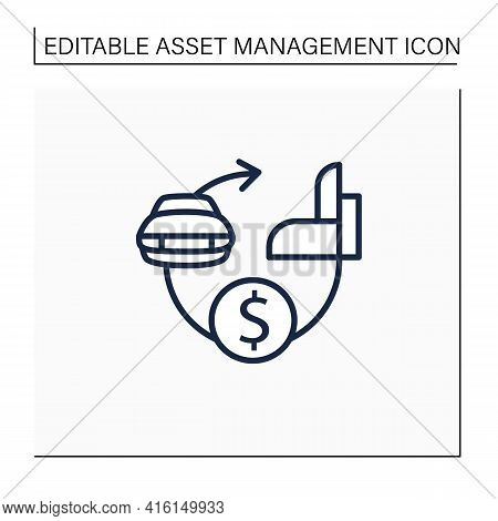 Assets Expected Life Cycle Line Icon. Stages Series Assets Management. Estimated Useful Life, Total