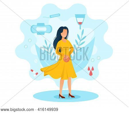 Female Character In Yellow Dress Is Suffering From Menstruation Pains. Sad Woman With Stomach Pain.