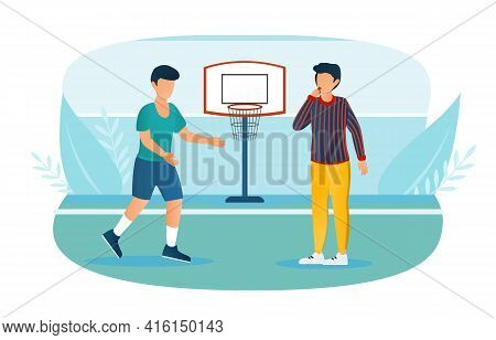 Male Basketball Player And Referee With Whistle On The Court. Concept Of Fair Referee Work While Pla