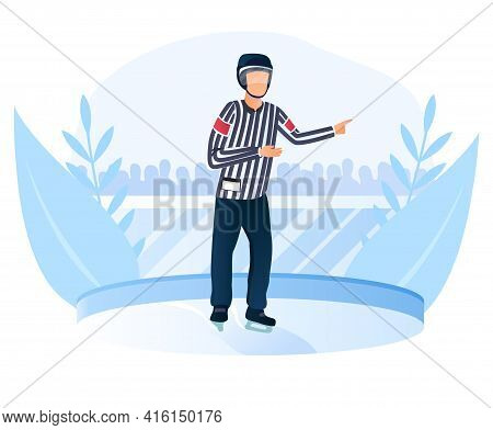 Male Hockey Referee In Helmet On Ice Stopped The Game. Hockey Tournament Game Has Been Stopped Becau