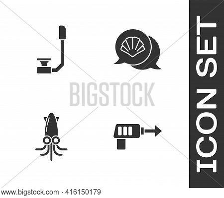 Set Fishing Harpoon, Snorkel, Octopus And Scallop Sea Shell Icon. Vector