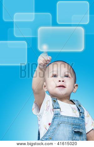 Child raises up forefinger is push button