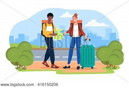 Male And Female Tourists Are Looking For A Place On The Map. Man And Woman Holding Map Together Deci