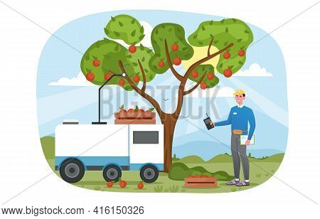 Smiling Male Character Is Standing Next To Tree And Remotely Controlling Robot Gathering Apples. Con