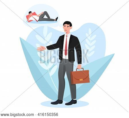 Tired Sleepy Male Character With Briefcase Is Walking To Work. Sad Exhausted Businessman Going To Of