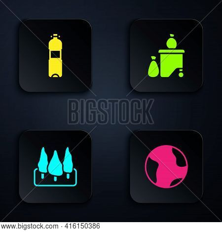 Set Earth Globe, Bottle Of Water, Forest And Full Dustbin. Black Square Button. Vector