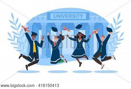 Group Of University Graduates In Black Coats Jumping With Joy After Graduation. Graduating Caps Flyi