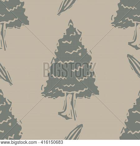 Handmade Carved Block Print Tree Seamless Pattern. Rustic Naive Folk Silhouette Illustration Backgro