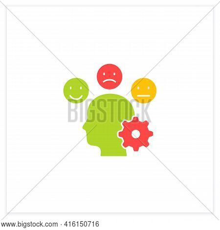 Managing Emotions Flat Icon. Control Positive And Negative Emotions. Emotional Dysregulation. Burnou