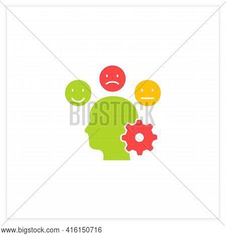 Managing Emotions Flat Icon. Control Positive And Negative Emotions. Emotional Dysregulation. Burnou