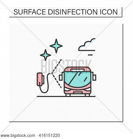Disinfection For Buses Color Icon. Social Transport Sanitizing. Safety Space And Preventative Measur