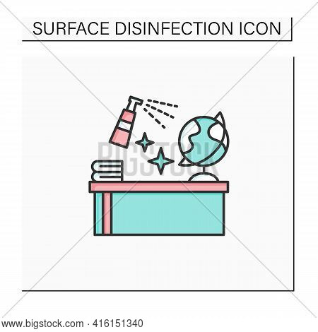Disinfection In School Color Icon. Classroom Disinfection. Quarantine In School. Safety Space And Pr