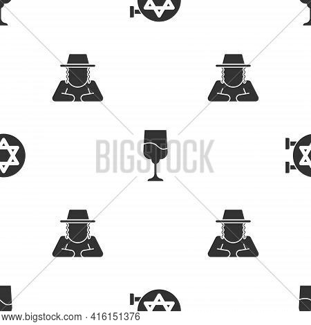 Set Jewish Synagogue, Goblet And Orthodox Jewish Hat On Seamless Pattern. Vector