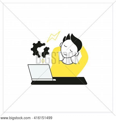 Workaholic Flat Icon. Counterproductive Behaviour. Rest On Workplace. Man Relax, Dont Think About Wo