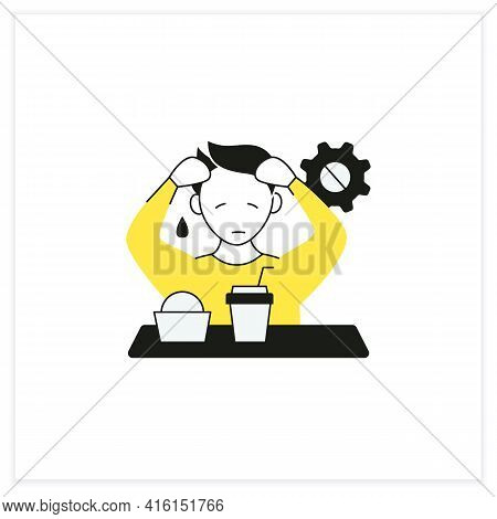Workaholic Flat Icon. Emotional Causes. Stressful Situation. Emotional Burnout Due To Work. Overwork