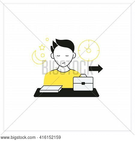 Workaholic Flat Icon.last Leave Office. Works Until Nightfall. Man At Laptop. Hard Working.overworki
