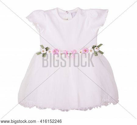 Bright Children's Dress Isolated On White Background, Dress For Kids, Baby Dress
