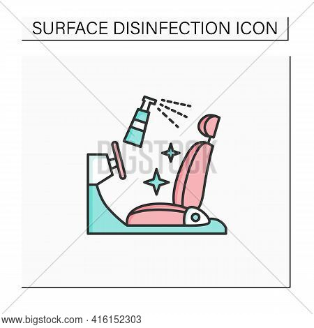 Disinfection Of Car Seat Color Icon. Sanitizing To Personal Transport. Safety Space And Preventative