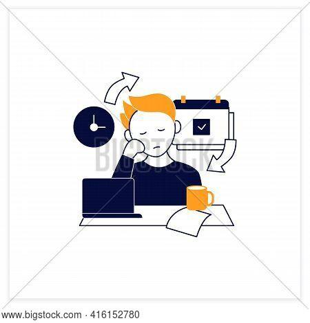 Chronic Procrastination Flat Icon.unhappy Statistic.tired Person At Workplace. Routine Procrastinati