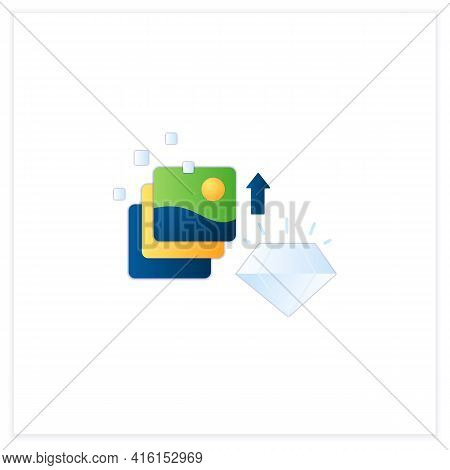 Digital Art Flat Icon. Fine Digital Art Collection Evolution. Profitable Growth. High Quality Pictur