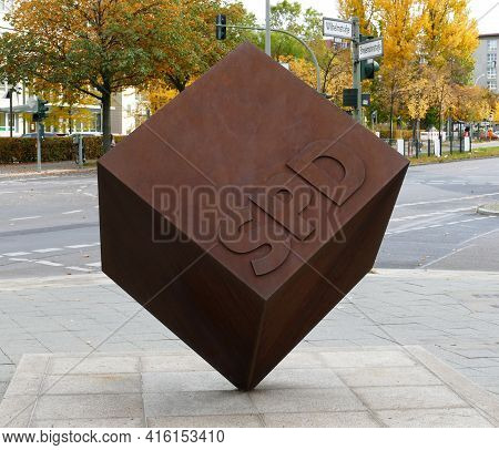 Berlin, Germany, October 27, 2020, Berlin, Germany, Spd Cube In A Rusty Look Outside The Party Headq