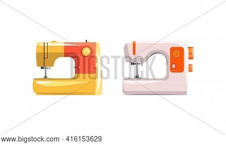 Set Of Modern Sewing Machines, Dressmaker Equipment Flat Vector Illustration
