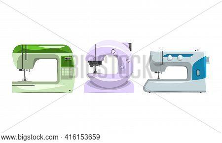 Dressmaker Equipment Set, Sewing Machines Collection Flat Vector Illustration
