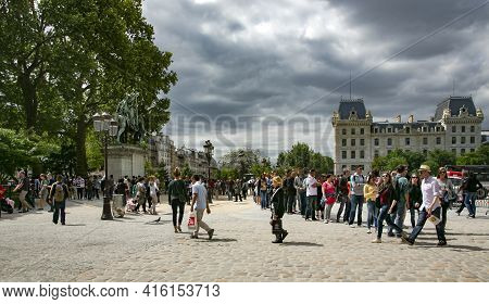 France, Paris, May, 20, 2015 - Square Jean Paul Ii Parvis Notre-dame In Front Of The Cathedral Of No