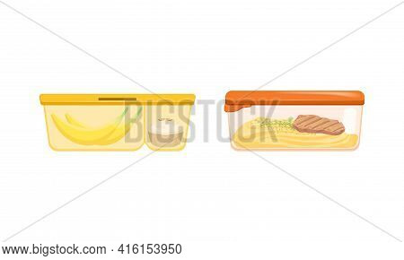 Plastic Containers With Food Set, Lunch Boxes With Banana, Cupcake, Mashed Potato, Steak Vector Illu