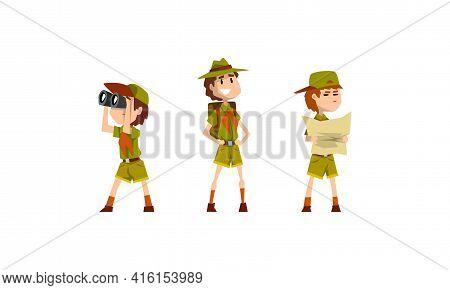 Scouting Boys Set, Boy Scouts Wearing Khaki Uniform Looking Binoculars, Examining Map Vector Illustr