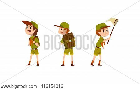 Scouting Boys Activity Set, Boy Scouts Characters Wearing Khaki Uniform Vector Illustration