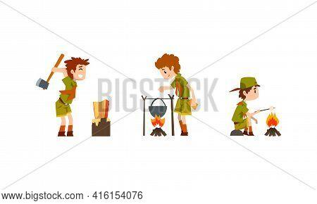 Scouting Boys Set, Boy Scouts Wearing Khaki Uniform Cooking Food On Bonfire, Roasting Marshmallow Ve