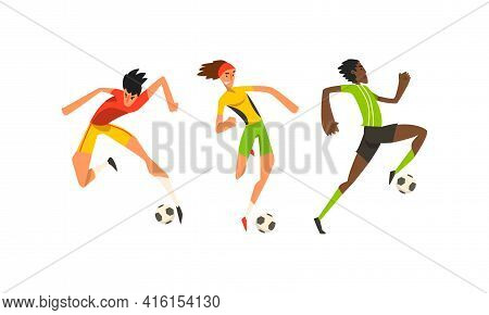 Soccer Players Set, Male Athletes Characters In Sports Uniform Kicking Ball Vector Illustration