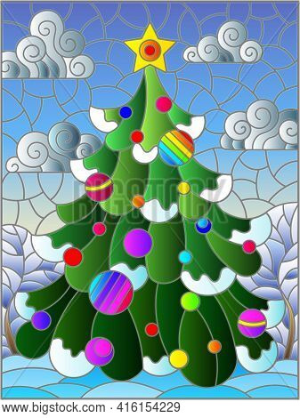 Illustration In The Style Of A Stained Glass Window On The Theme Of Winter Holidays,with Decorated C