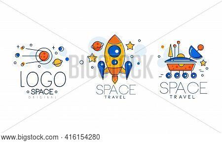 Space Logo Original Design Set, Astronautics Labels, Cosmos, Spacecraft, Astronaut Badges Vector Ill