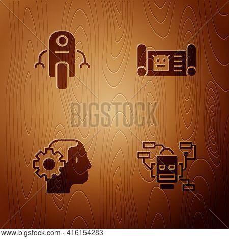 Set Robot, , Humanoid Robot And Blueprint On Wooden Background. Vector