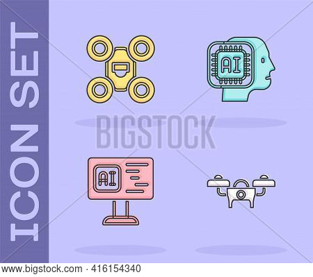 Set Drone, , Software And Humanoid Robot Icon. Vector
