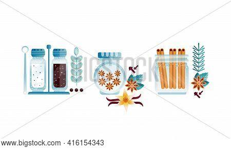 Set Of Herbs And Glass Jars, Anise, Vanilla, Pepper, Salt, Cinnamon Vector Illustration