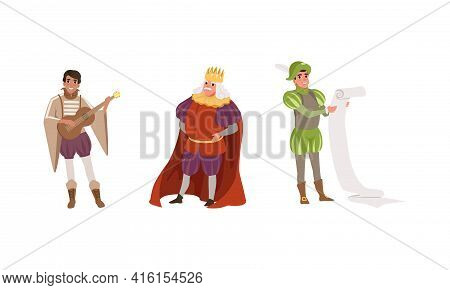 Medieval Characters Dressed Ancient Clothes Set, Royal Scribe, Musician, Majestic King Vector Illust