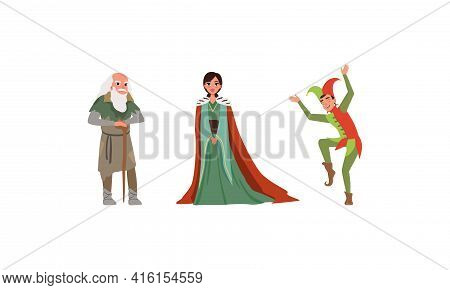Medieval Characters Dressed Ancient Clothes Set, Majestic Queen, Old Poor Man, Jester Vector Illustr