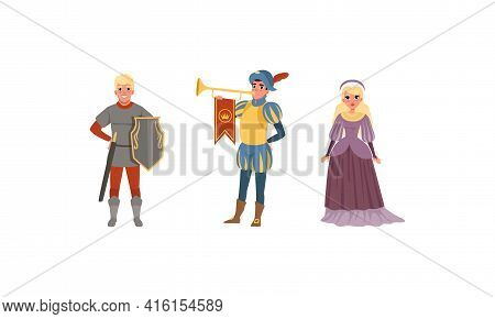 Medieval Characters Dressed Ancient Clothes Set, Royal Herald With Trumpet, Warrior, Noble Lady Vect