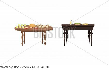 Tables With Food Dishes Set, Banquet Table With Drinks And Tasty Meals Vector Illustration