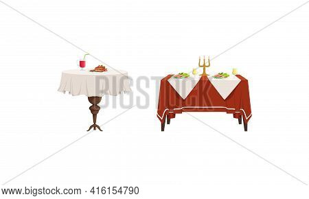 Banquet Tables With Food Dishes Set, Served Table With Drinks And Tasty Meals Vector Illustration