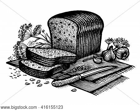 Bread With Garlic And Cumin, Vector Illustration. Vintage Graphics And Handwork. Drawing With An Ink