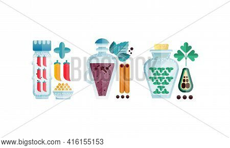 Set Of Herbs And Glass Jars, Cinnamon, Chill Pepper, Cloves, Parsley Vector Illustration Isolated On