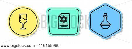 Set Line Jewish Goblet, Torah Scroll And Wine Bottle. Colored Shapes. Vector