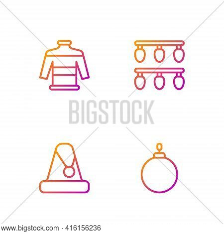 Set Line Christmas Ball, Santa Claus Hat, Sweater And Lights. Gradient Color Icons. Vector