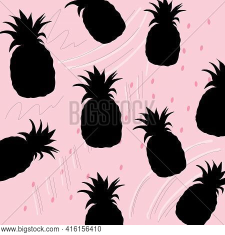 Pineapple Background. Hand Drawn Seamless Pattern With Pineapple In Vector